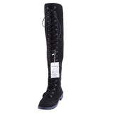 Parkside Wind Women Boots Shoes Sexy Lace Up Over Knee Boots Women With Square Heel Rubber Boots GSS1163