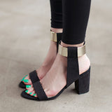 Gorgeous Gold Band Summer Block Heel Sandals GSS1135