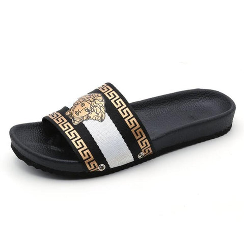Plus size 35-42 summer Women flat Slides cozy Sandals Slippers Couples PU flip flops House slides Lovers Shoes Woman Flats S063