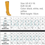 Pointed Toe Cowgirl wedges Motorcycle Boots Black Yellow White Knee High Boots Western Cowboy Boots for Women Long Winter Boots