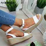 Puimentiua Summer Platform Sandals 2019 Fashion Women  Sandal Wedges Shoes Casual Woman Peep Toe Black Platform Sandals Plus 43