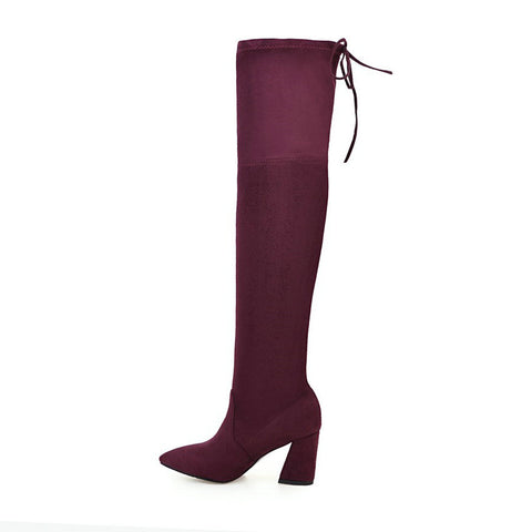 Ladies Over The Knee Boots Lace Up Block Heels GSS1079