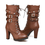 REAVE CAT Ladies High heels Platform Buckle Zipper Rivets Lace up Leather boots GSS1066