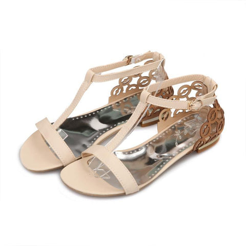 Gladiator Sandal Cutout Summer flat Heel Casual shoes Flats Buckle Flower