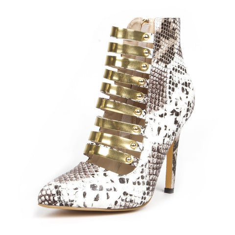 SHOFOO shoes, fashion novelty free shipping, silver snake PU, gold trim, 11 cm high-heeled shoes, pointed toe pumps.SIZE:34-45
