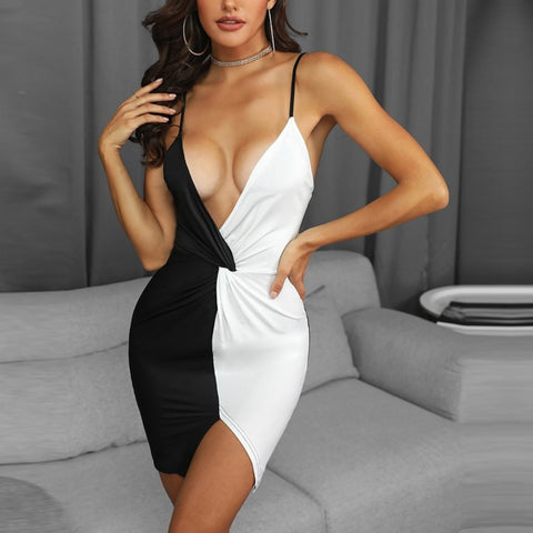 Sexy Dress Womens Deep V-Neck Fashion Ladies Dresses Black-White Patchwork Slim Bodycon Dress Mini Party Dresses 2019 NEW