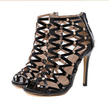 Sexy Gladiator Sandals Women High Heel Stiletto Open Toe Hollow Out Shoes Woman Sandals Party Black Rivet Sandals Tenis Feminino
