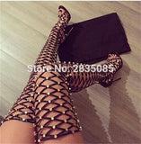 Sexy Open Toe Cut Out Ladies Rivet Studded Gladiator Over The Knee Boot Sandals Stiletto