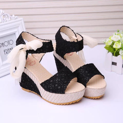 Gorgeous Summer Lace Covered Open Toe Wedges GSS1139