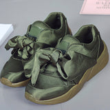 Spring New Fashion Breathable Shoes Women Silk Bow Tie Ribbon Satin Flats GSS1164
