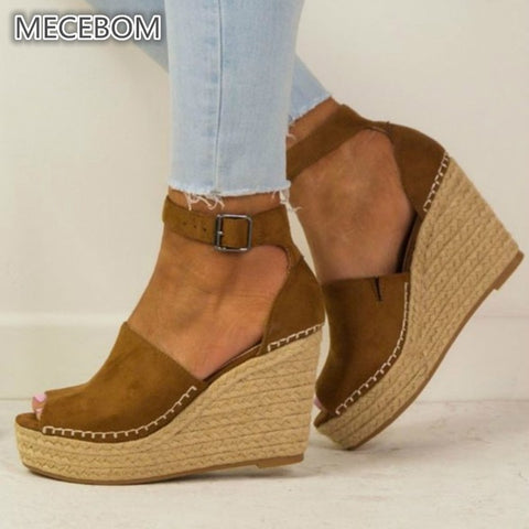 Spring Women Sandals Casual Linen Canvas Wedge Platform Buckle Ankle Strap High Heel Platform Pump Espadrilles ladies Shoes 608W
