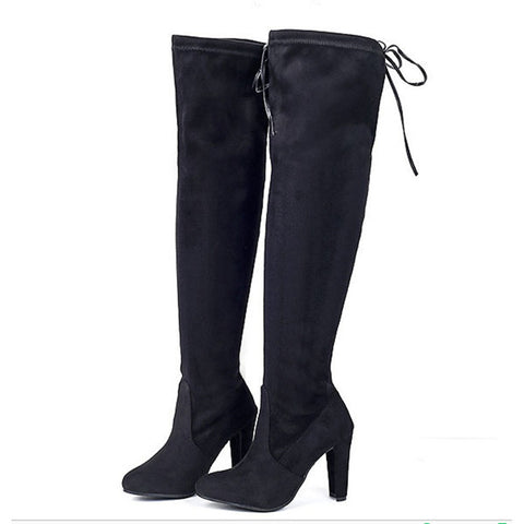 Stretch Faux Suede Thigh High Boots GSS1159