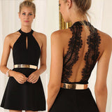 Stylish Women Sleeveless Backless High-waist Halter Black Lace Belt Noble Short Dress Lady Summer Casual Ball Party Dress S-XXL