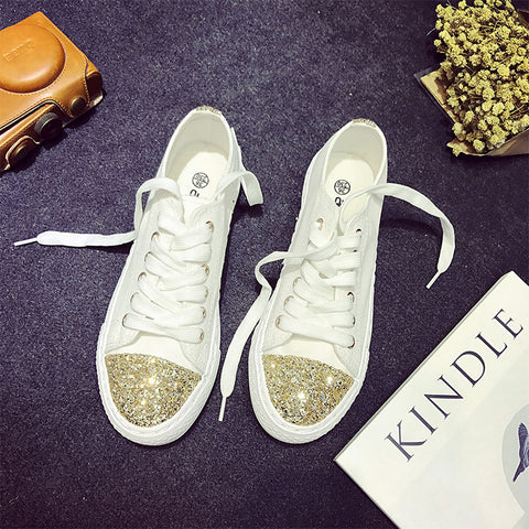 Women Canvas Shoes Low Top Diamanté Shoes