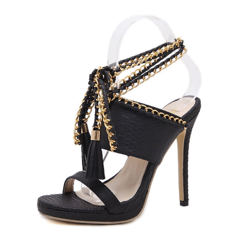 Teahoo Summer Gold Chain Gladiator Sandals Women Ankle Strap Fringe High Heels Sandals Women Fashion Black Leather Shoes Woman