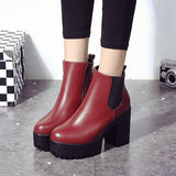 Thick Heels Chelsea Boots Women Leather Ankle Boots For Women Flat Platform Boots Female Autumn Round Toe Women Heels Shoes