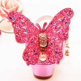 ULKNN Girls Sandals Rhinestone Butterfly pink Latin dance shoes 5-13 years old 6 children 7 summer high Heel Princess shoes kids