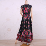 UZZDSS 2019 New Women Summer Boho Beach Maxi Dress Sexy V Neck Vintage Print Long Dresses Casual Sundress Dress vestidos