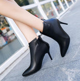 Vieruodis 2018 new Sexy Women Boots Solid Flock PU Zip High heels Boots Lady Stiletto Pointed toe Ankle Boots Martin boot L148