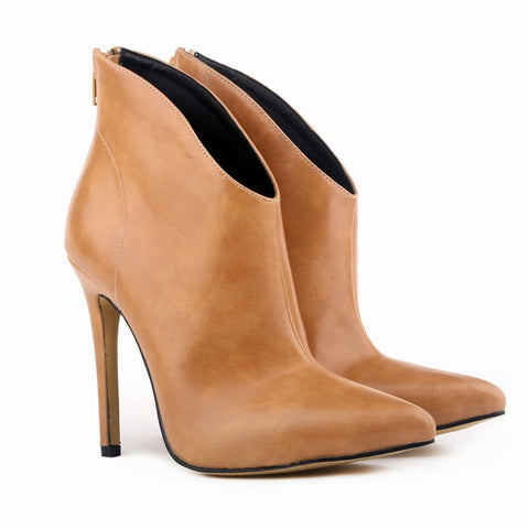 Faux Leather High Stiletto Ankle Boots GSS1116