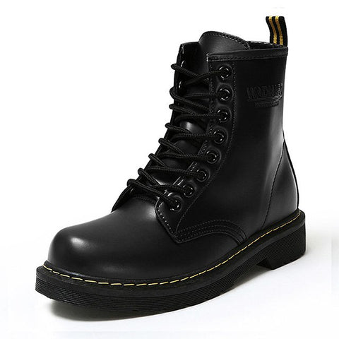 Winter Ankle Boots Pu Leather Women Boots Fashion Martin Boots Women Work Shoes Black Round Toe Lace-Up Women Shoes Female Boots