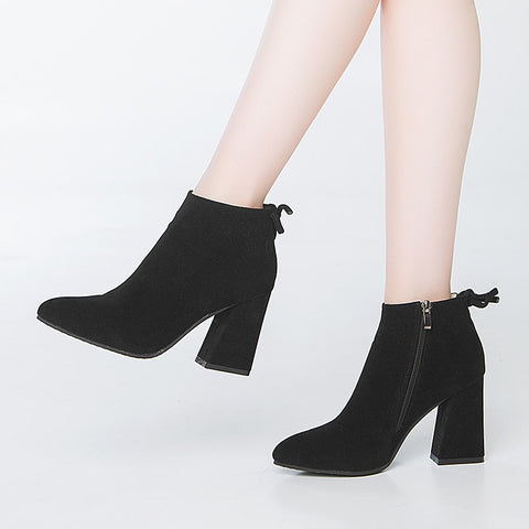 Winter fashion suede ankle boots fashion square heel GSS1077