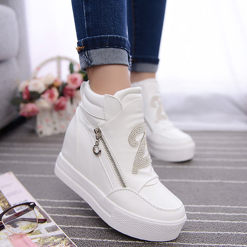 2c6d2595e9d6 ... Ladies Hidden Wedge High Top Lace-Up Rhinestone Boots ...