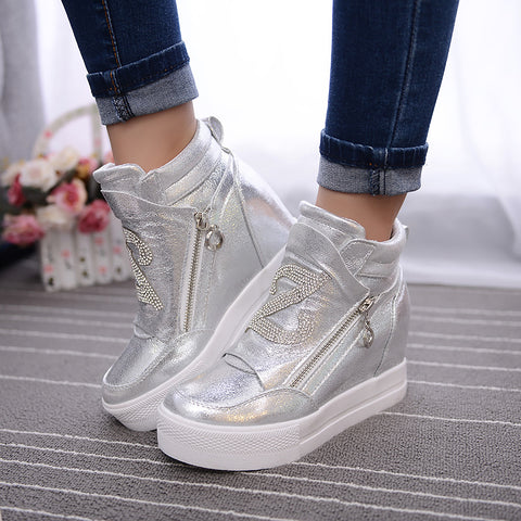 Ladies Hidden Wedge High Top Lace-Up Rhinestone Boots