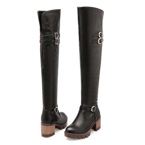 Square Heel Over Knee Boots GSS1156