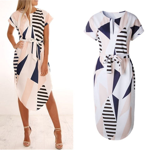 Wuhaobo Elegant Women Summer Dress V Neck Beach Tunic Long Dresses Geometric Color Block Print Sexy Bohemian Sashes Vestidos