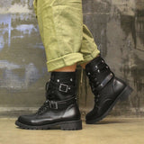 Flat Buckle Strap Boots Casual Leather Martin Shoes Boot Female Fashion Patent PU Leather Platform Women Shoes#j4s