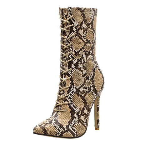 Women Snakeskin Pattern Pointed ToeThin High Heels Boots