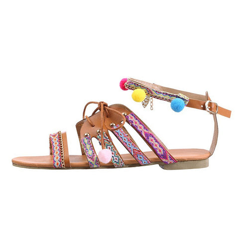 Bohemia Gladiator Leather Sandals Flats Shoes Pom-Pom Sandals