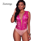 Ziamonga S-XXL Sexy Black Lace Bodysuit Women Mesh Jumpsuits Romper Backless Embroidery Ladies Body Dentelle Shorts Playsuits