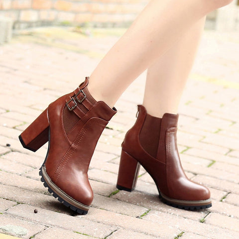 Ladies Block High Heel Buckle Ankle Boots Autumn Winter