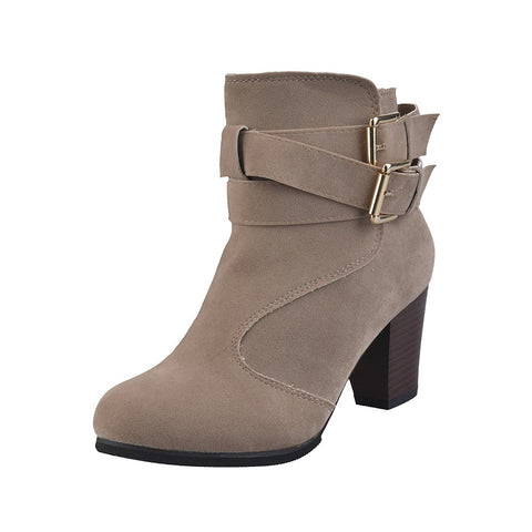Ladies Belt Buckle Faux High Block Heel Ankle Boots