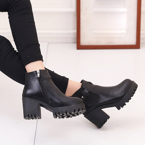Ladies Square Block Heel Platforms Pump Boots Motorcycle Style