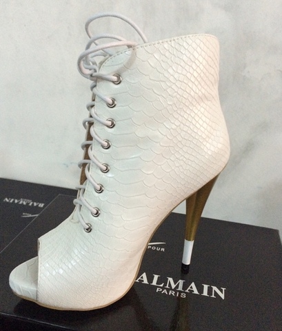 White Snakeskin Lace Up Peeptoe Ankle Boots