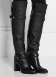 GSS1118 Block Heel Knee High Boots with Buckle Detail