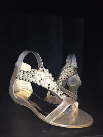 GSS1105 Beaded Toe Post Mini Wedge Sandals