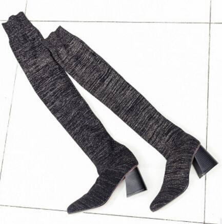 Ladies Glitter Thigh High Sock Style Boots
