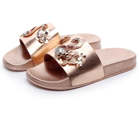 Ladies Rhinestone Flowers Beach Slides Flip flops Casual Sandals