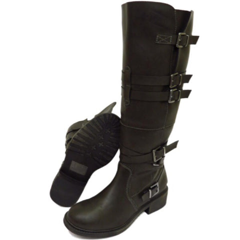 Biker Buckle Style Knee High Boots GSS1148