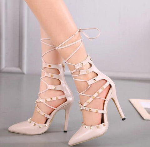 Lace up rivet heels GSS1120