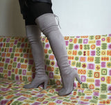 Over knee suede effect block Heel boots