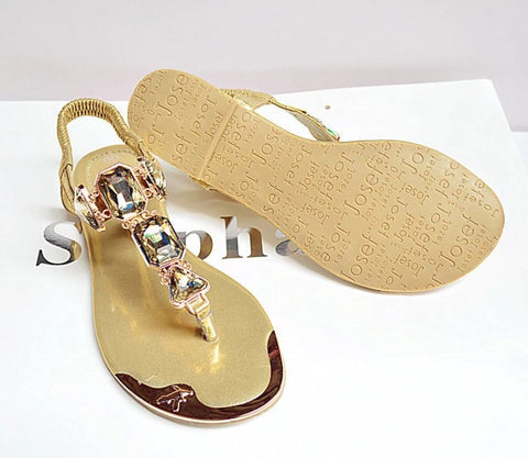 Large Gem Gold Trim Toe Post Sandalas