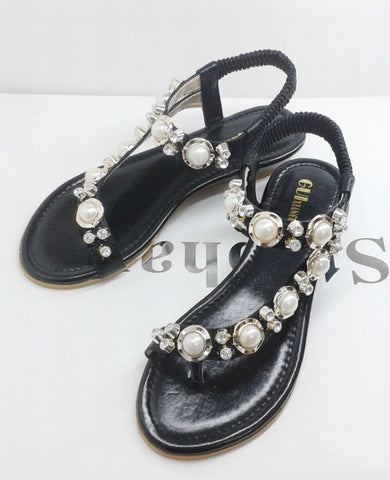 Pearl and Diamonte Finished Toe Post Sandals GSS1115
