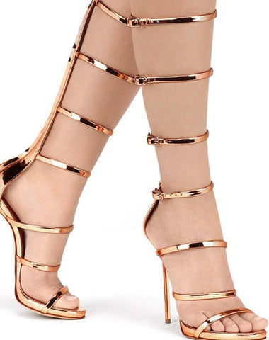 Gorgeous Elegant Single Straps Knee High Sandals GSS1134