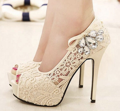 Gorgeous Lace Detail Wedding Peep-toe Stiletto GSS1132