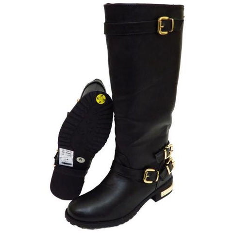 Gorgeous Biker Style Gold Trim Knee High Boots GSS1143